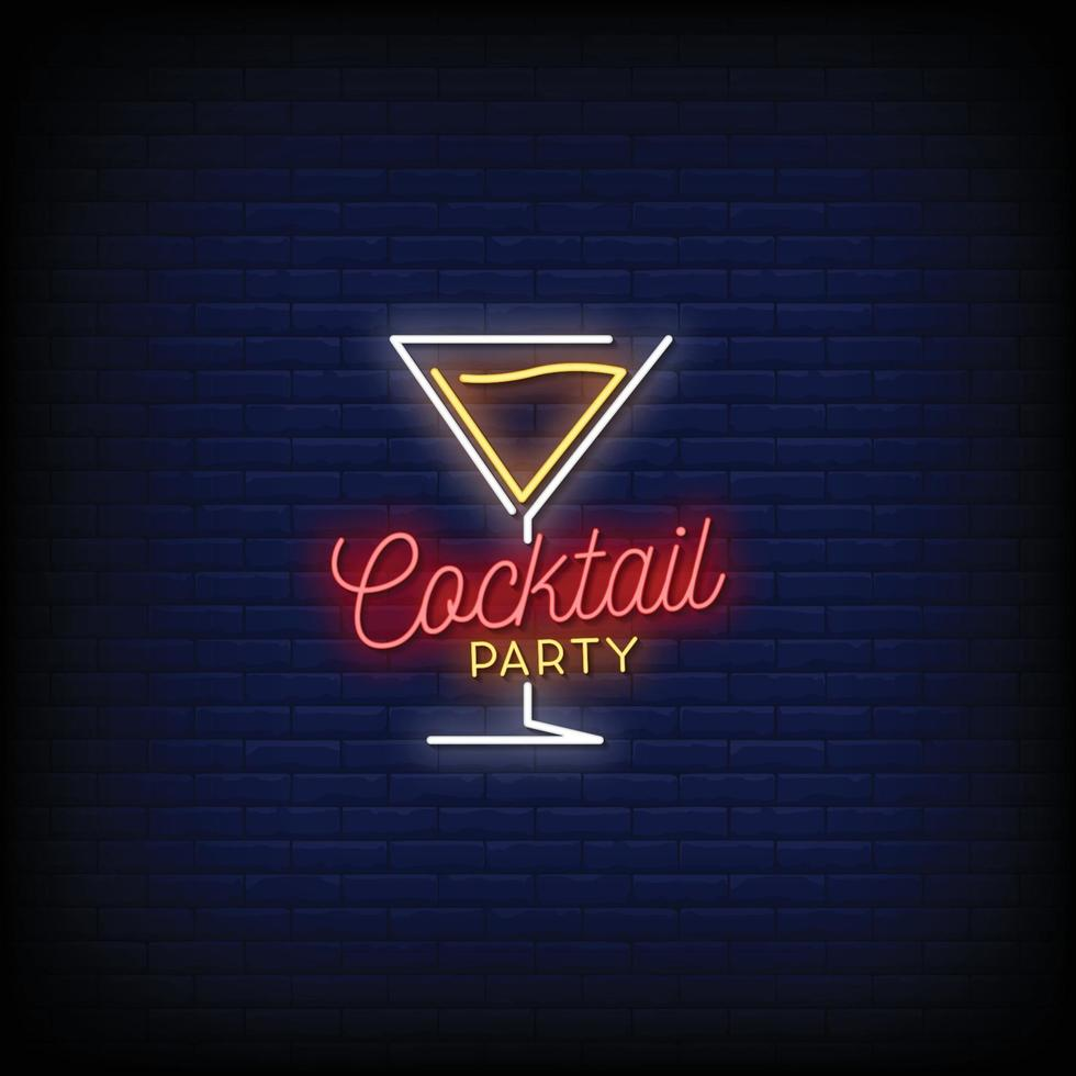 cocktail party logo neonskyltar stil text vektor