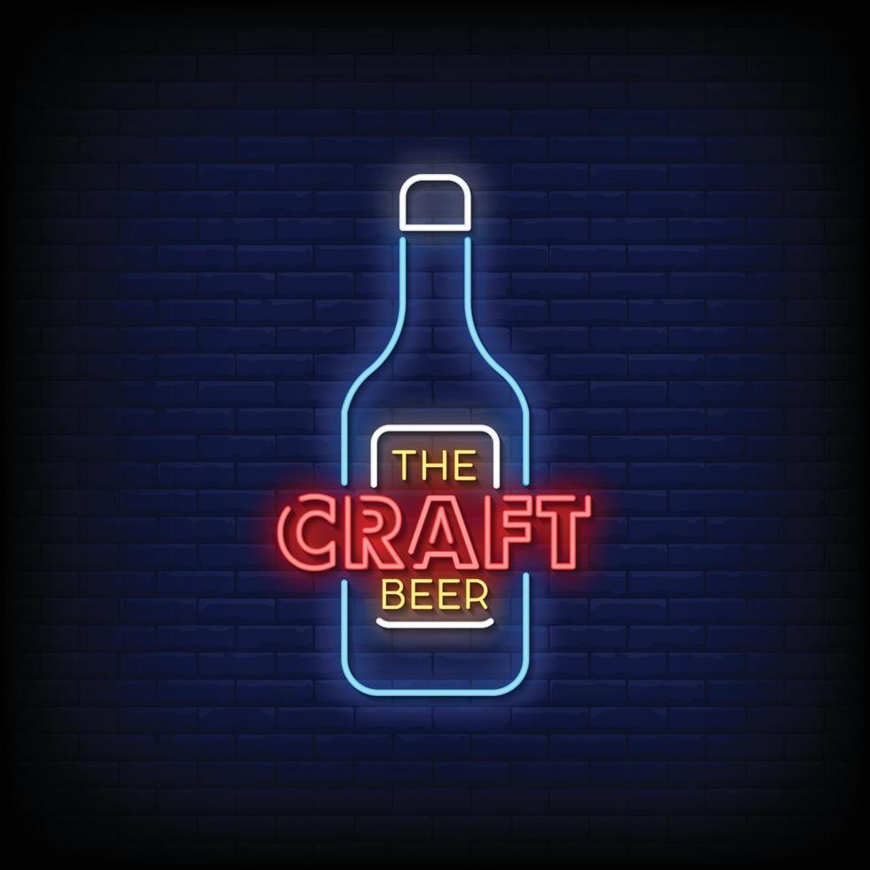 hantverk öl design neon skyltar stil text vektor