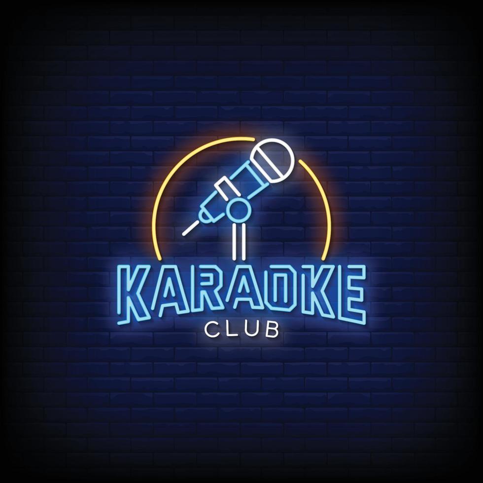 karaoke club design neonskyltar stil text vektor