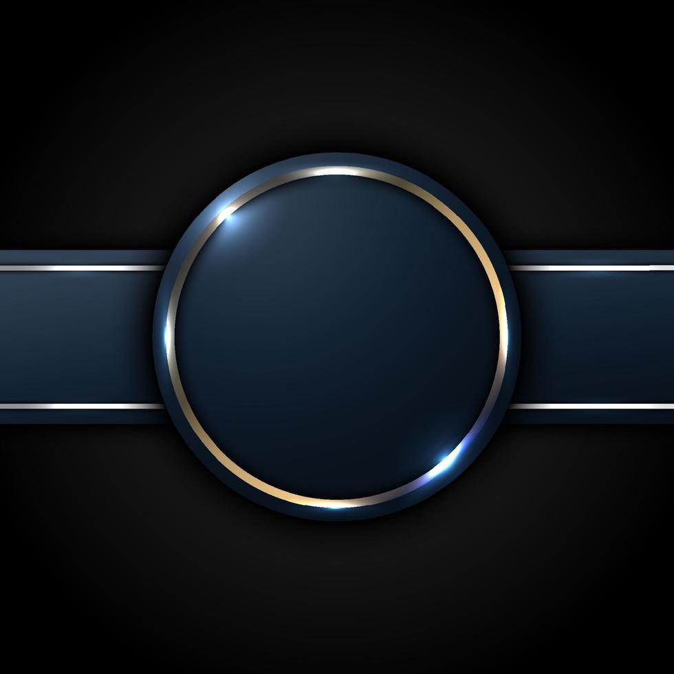 mörkblå cirkel och randetikett med gyllene linje dekoration på svart bakgrund lyx stil vektor