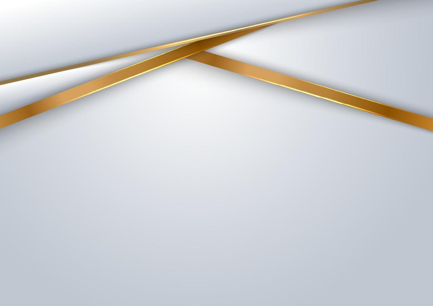 abstrakt mall design vit och grå bakgrund geometriska överlappande lager med gyllene linje lyxstil. vektor