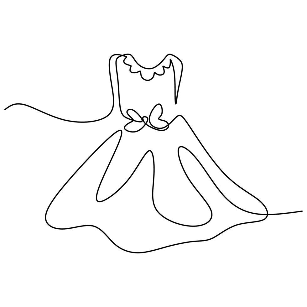 kontinuierliche einzeilige Zeichnung eines Schönheitskleides. kurze Kleid Party für Mädchen handgezeichnete Linie Kunst Minimalismus Design. Frauenkleidungskonzept lokalisiert auf weißem Hintergrund. Vektorillustration vektor