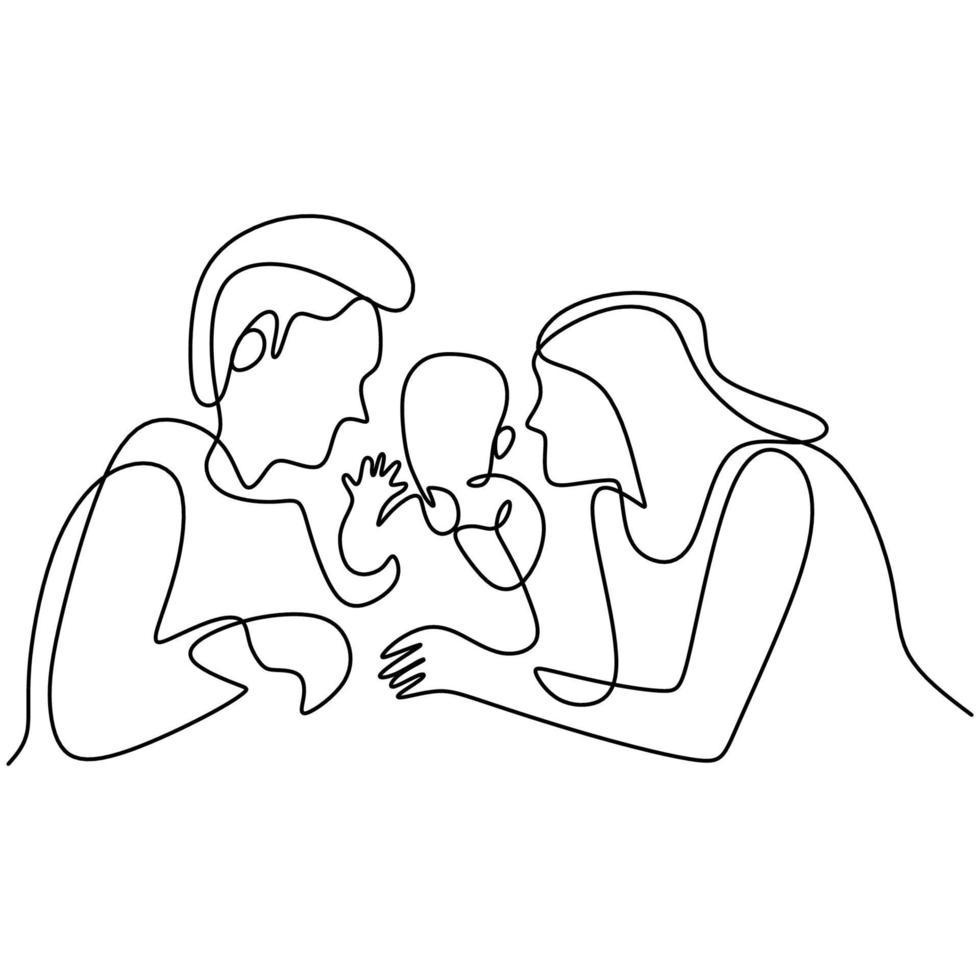 kontinuierliche einzeilige Zeichnung der glücklichen Familie. Vater, Mutter umarmen ihr Kind zusammen voller Wärme zu Hause isoliert auf weißem Hintergrund. Erziehungskonzept. Vektor-Illustration Minimalismus-Stil vektor
