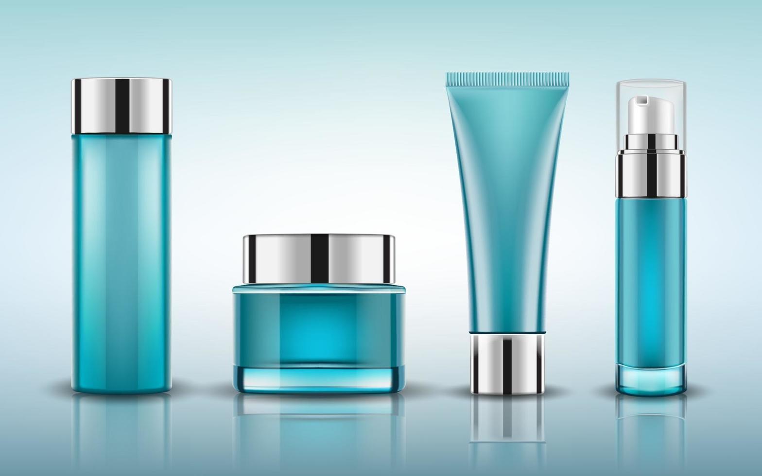 uppsättning blå kosmetiska flaskor förpackning mockup, redo för din design, vektorillustration. vektor
