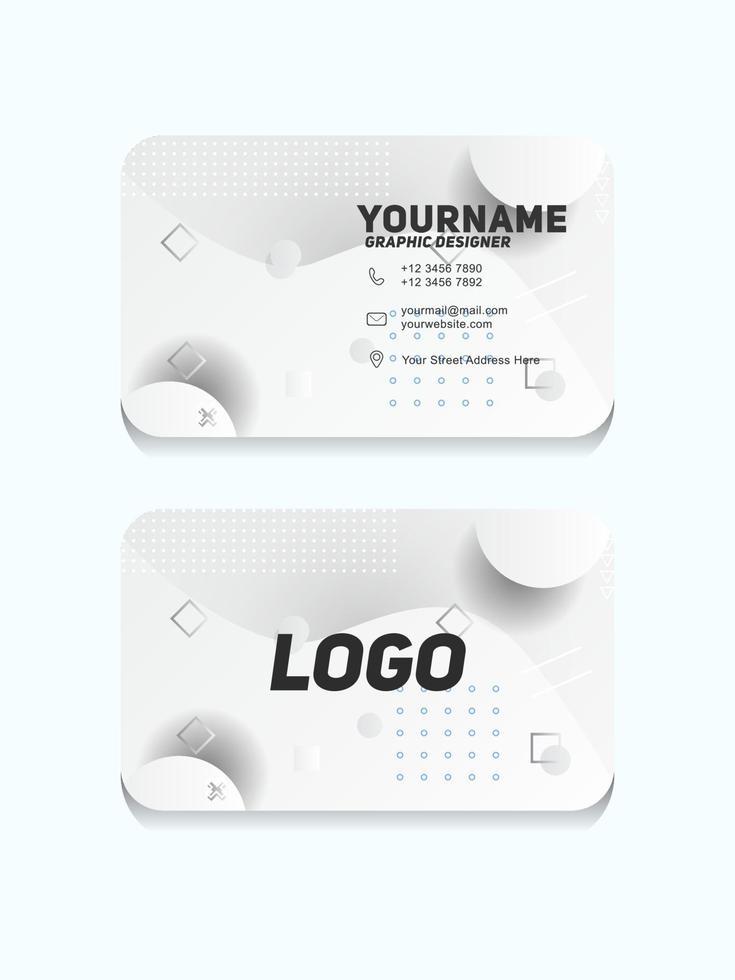 moderne geometrische Visitenkartenschablone mit weißer und grauer Farbe vektor