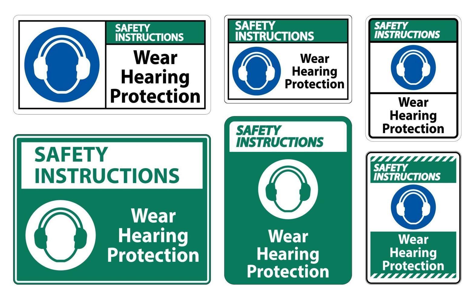 säkerhetsinstruktioner bär hörselskyddstecken på vit bakgrund vektor