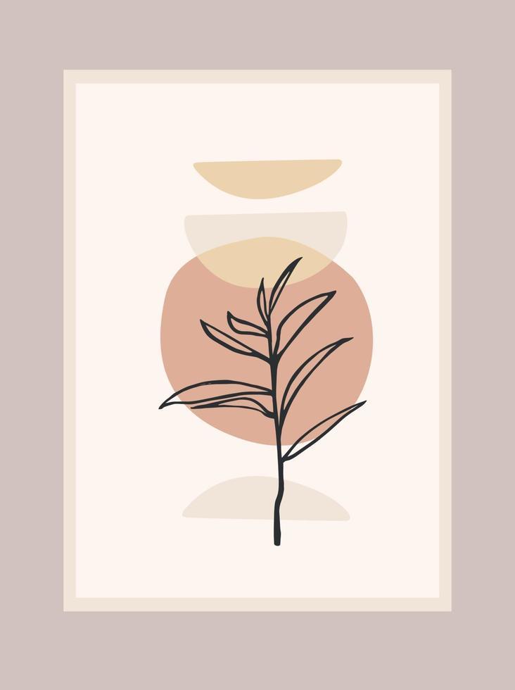 zeitgenössischer Kunstdruck mit abstrakter Pflanze. Strichzeichnungen. modernes Vektordesign vektor
