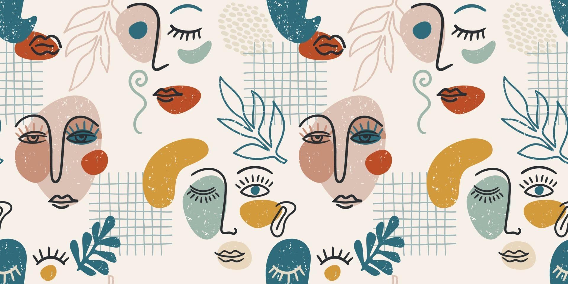 zeitgenössisches Porträt. Vektor nahtloses Muster mit trandy abstrakte Gesichtsbemalung.