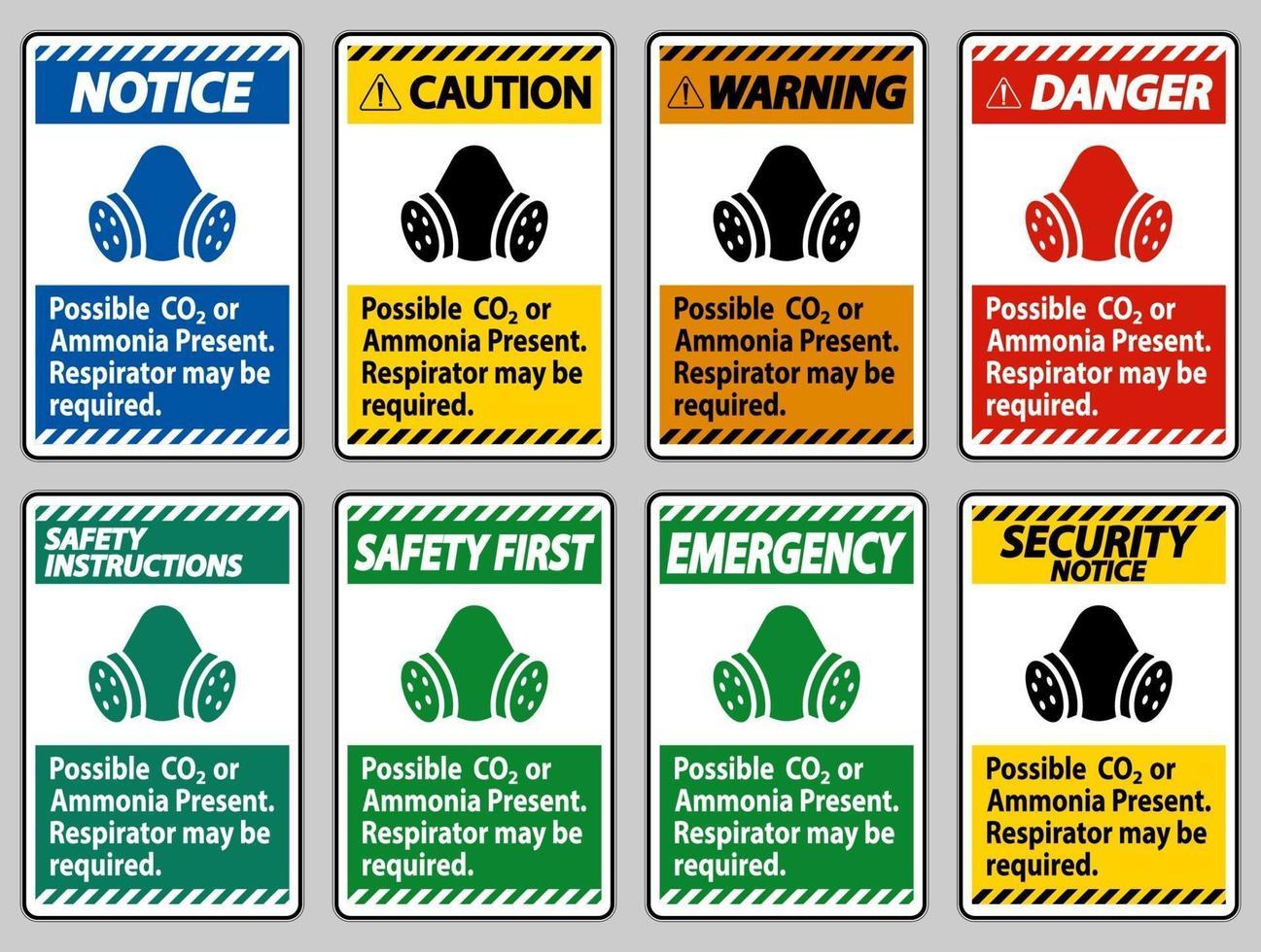 ppe-tecken möjlig co2 eller ammoniak närvarande, kan andningsskydd behövas vektor