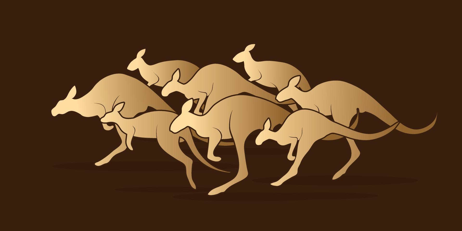 grupp känguruhoppning vektor