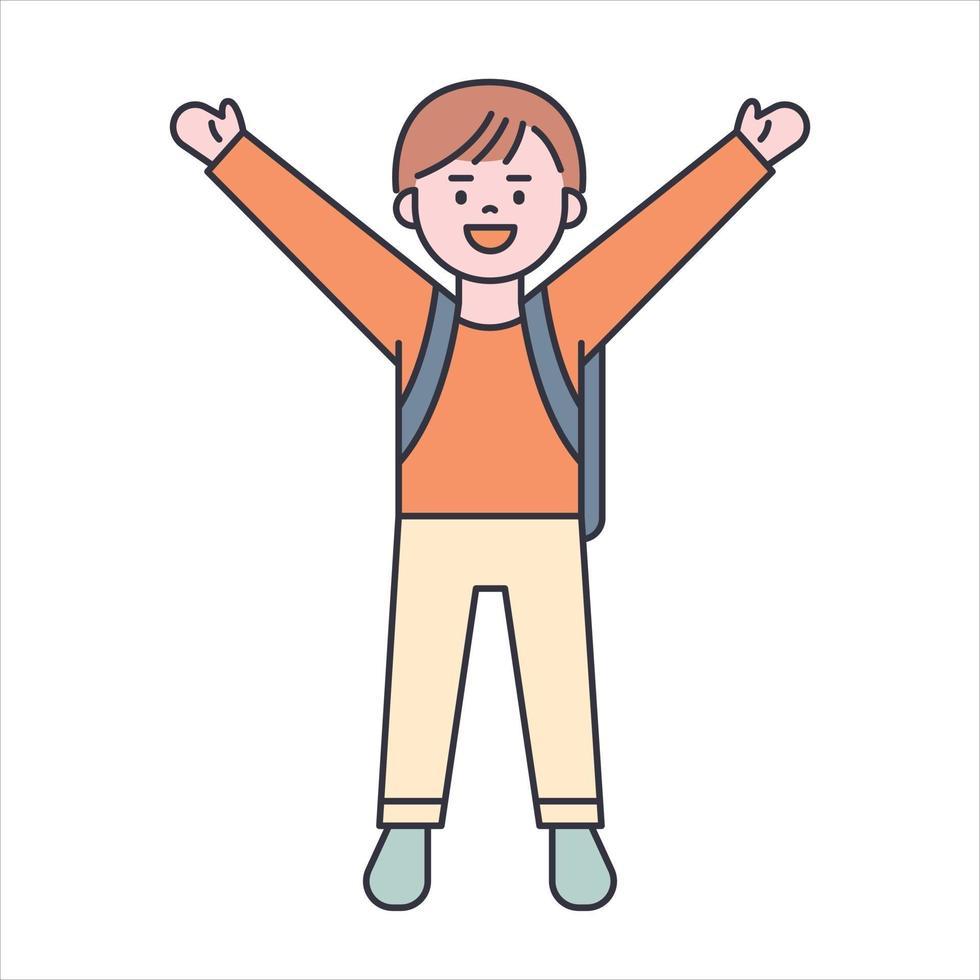 en söt pojke bär en skolväska, platt designstil minimal vektorillustration. vektor