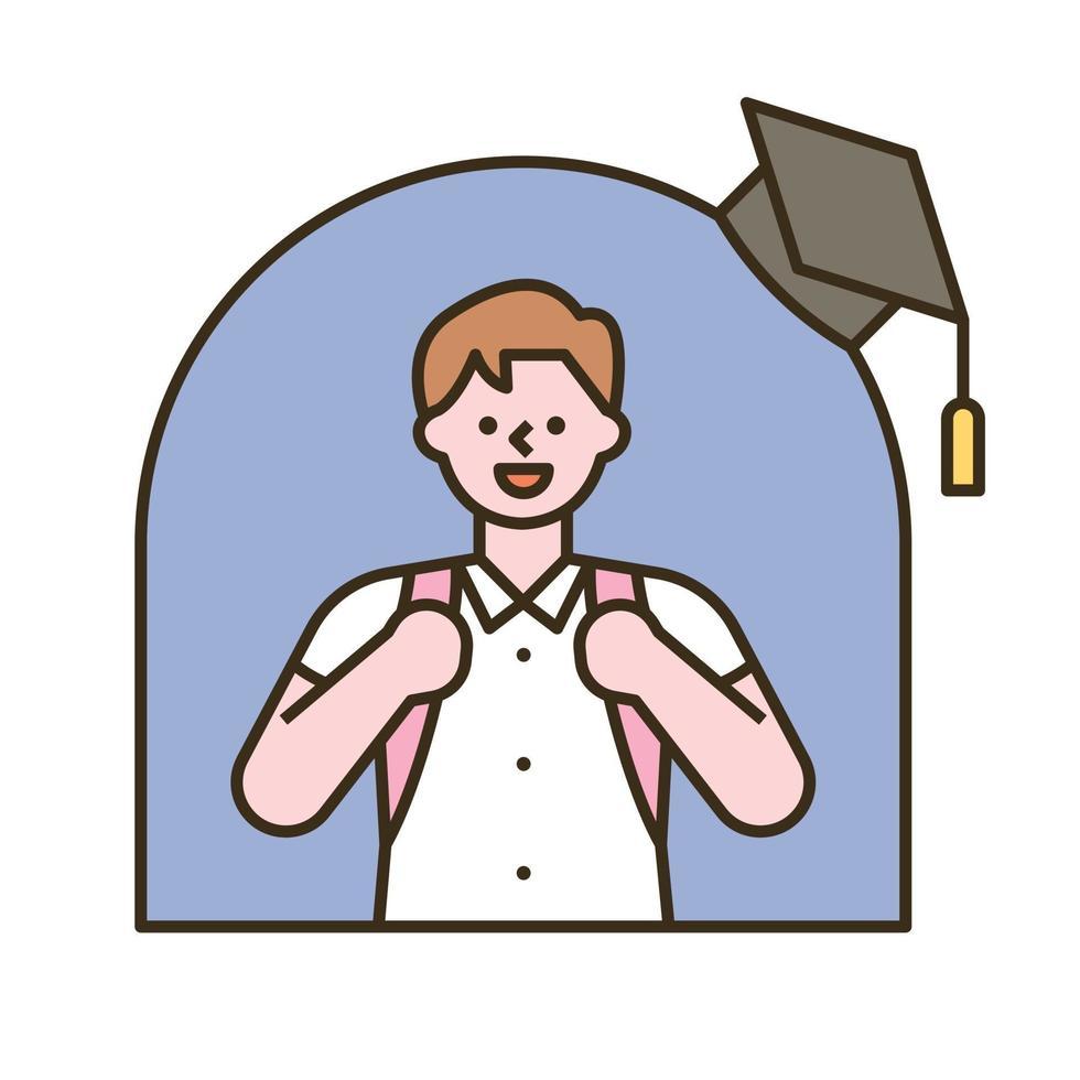 en pojke med en skolväska. platt designstil minimal vektorillustration. vektor