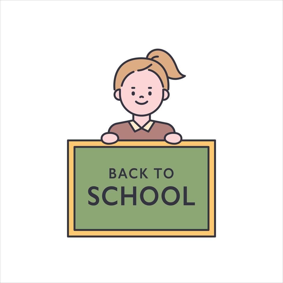 en söt liten flicka håller en svart tavla. platt designstil minimal vektorillustration. vektor