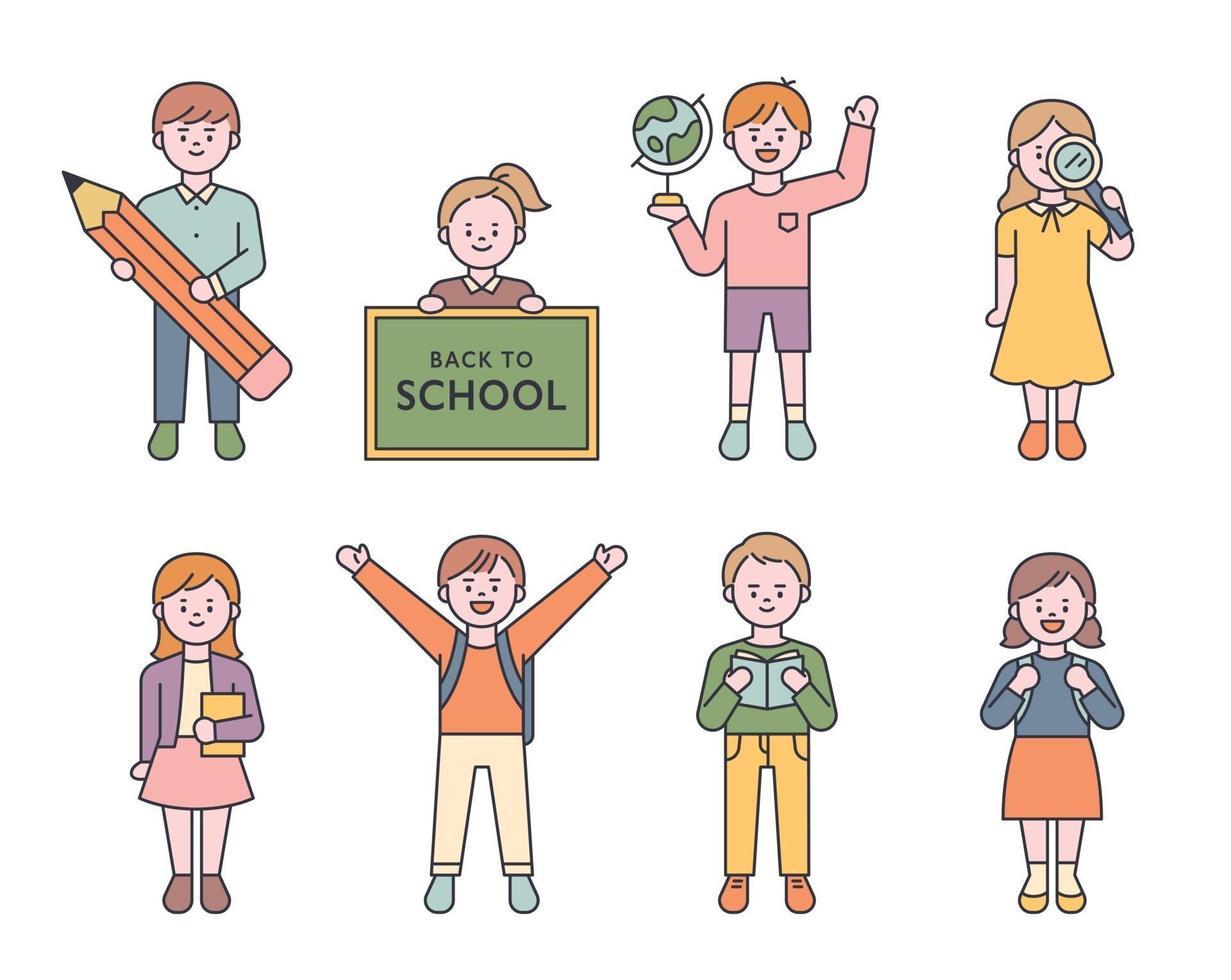 en samling små och unga karaktärer i grundskolan. barn står med olika föremål i händerna. platt designstil minimal vektorillustration. vektor