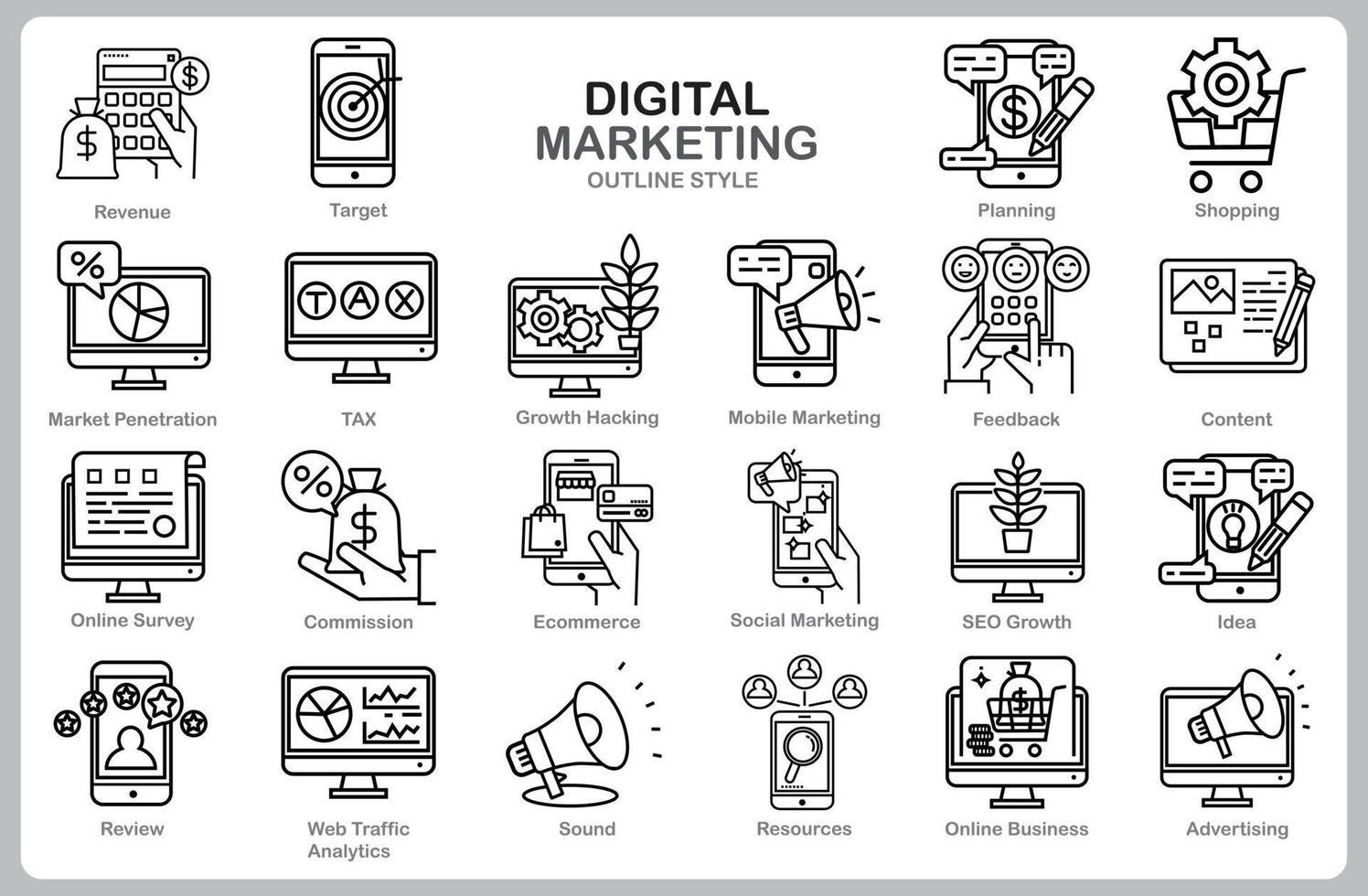 digital marknadsföringsuppsättning för webbplats, dokument, affischdesign, utskrift, applikation. digital marknadsföring koncept ikon dispositionsformat. vektor