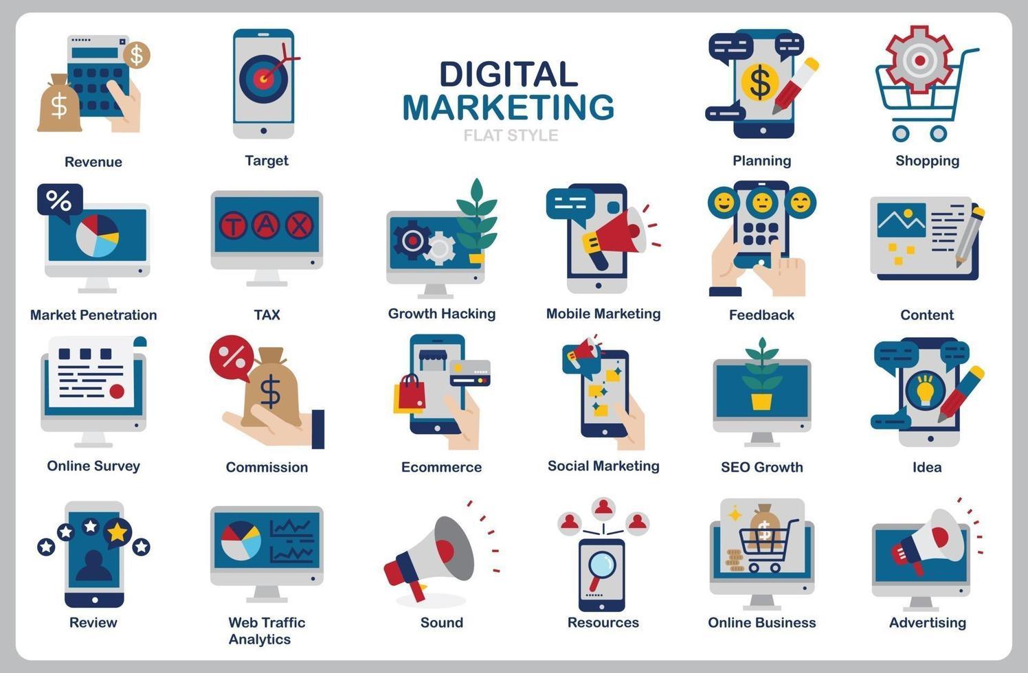 digital marknadsföringsuppsättning för webbplats, dokument, affischdesign, utskrift, applikation. digital marknadsföringskoncept ikon platt stil. vektor