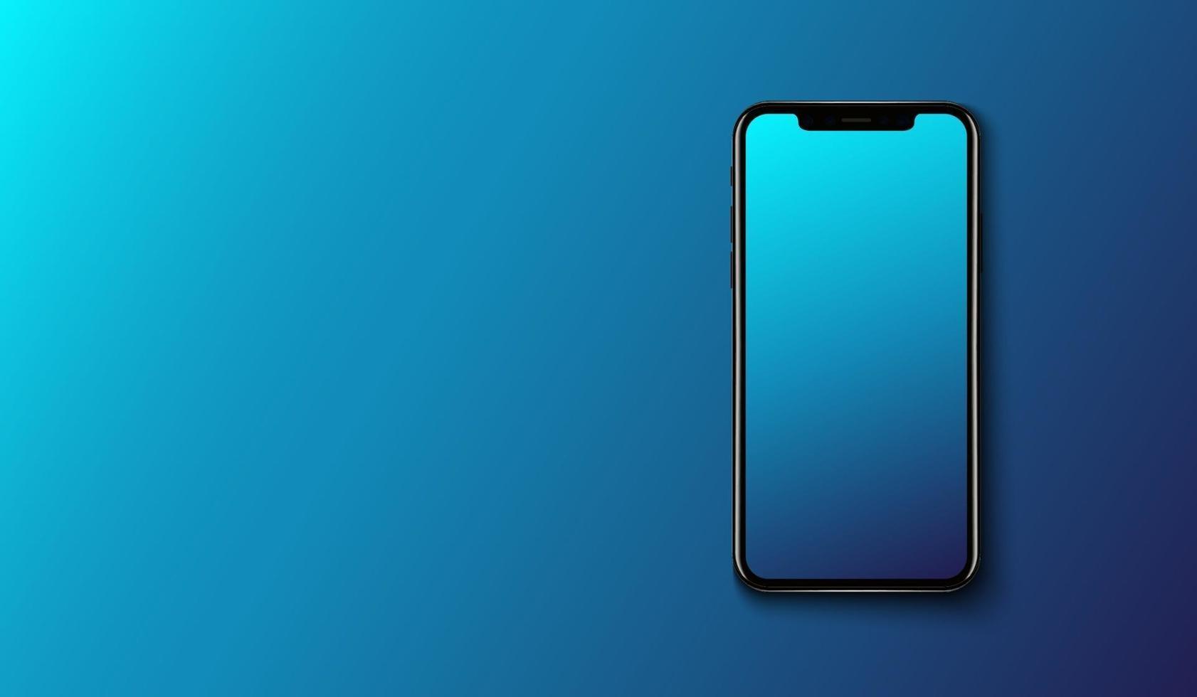 Smartphone auf glattem dunkelblauem Hintergrund, futuristisches Technologiedesign, Vektorillustration vektor