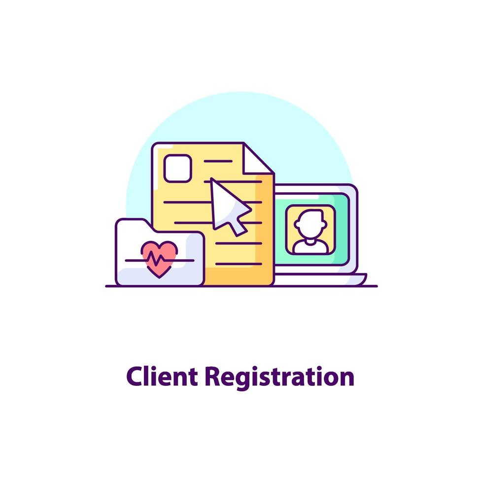 Kundenregistrierung Creative UI Concept Icon vektor