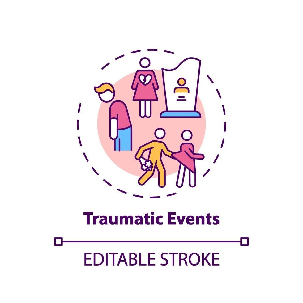 Konzeptikone für traumatische Ereignisse vektor