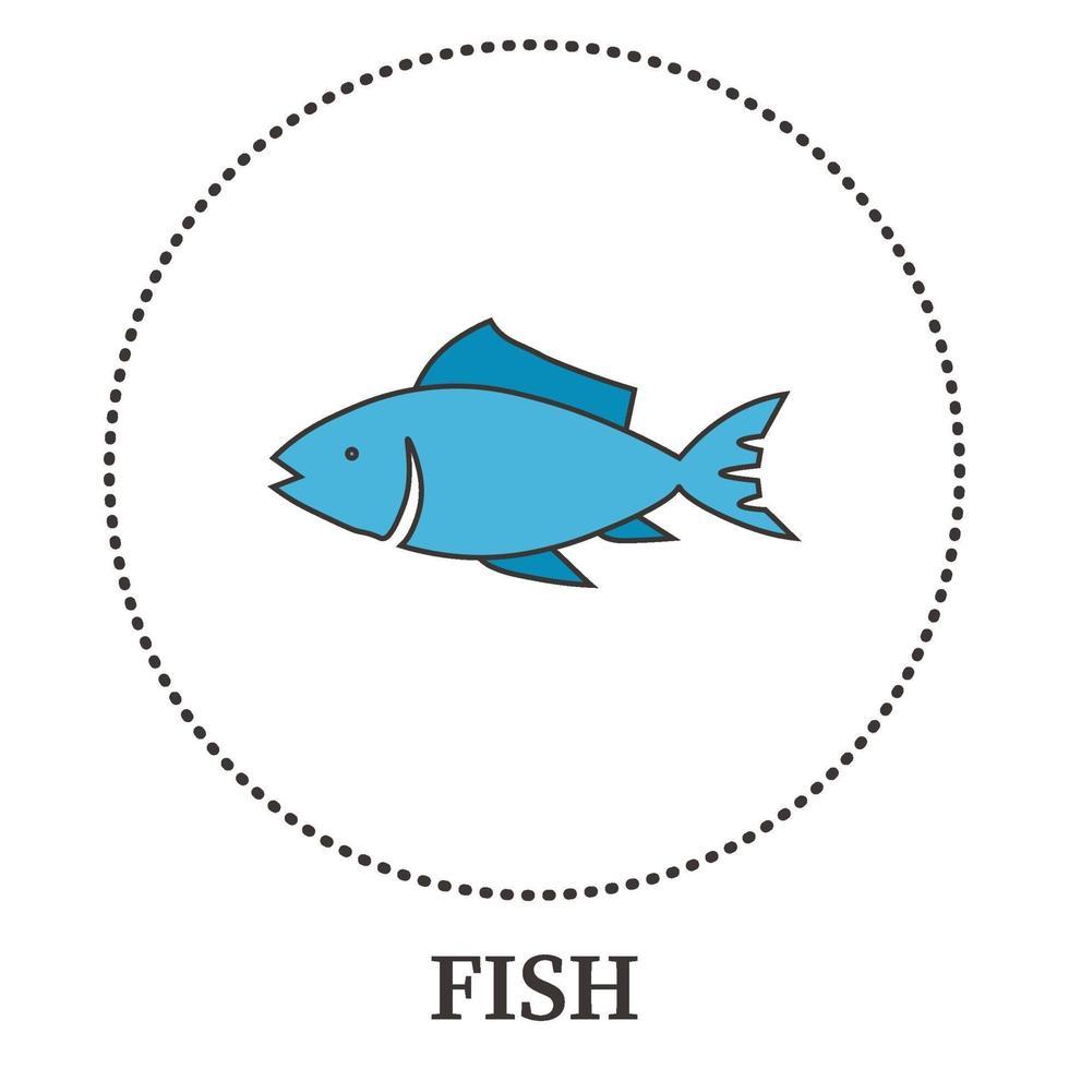abstrakt havsfisk på vit bakgrund - vektor