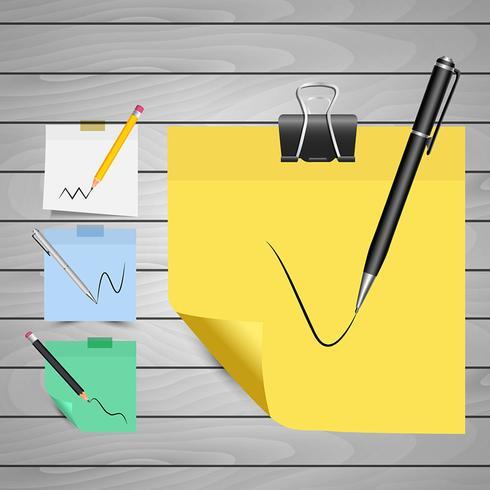 Litet papper med penna och penna vektor