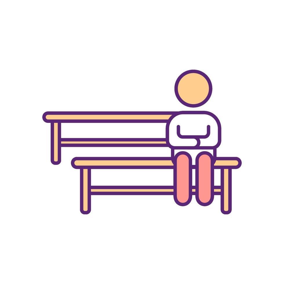 Person, die auf Bank-RGB-Farbsymbol sitzt vektor