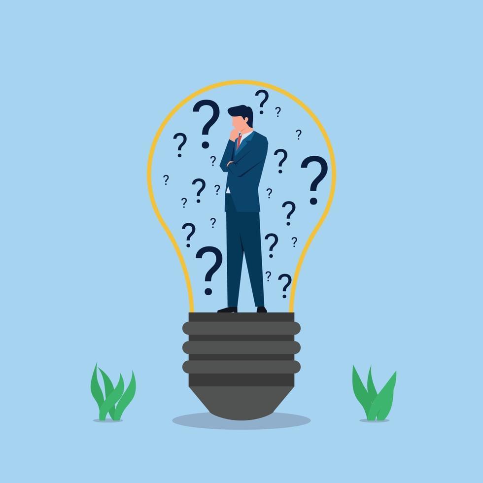 affärs platt vektor koncept illustration. affärsman står i glödlampan med frågetecken.
