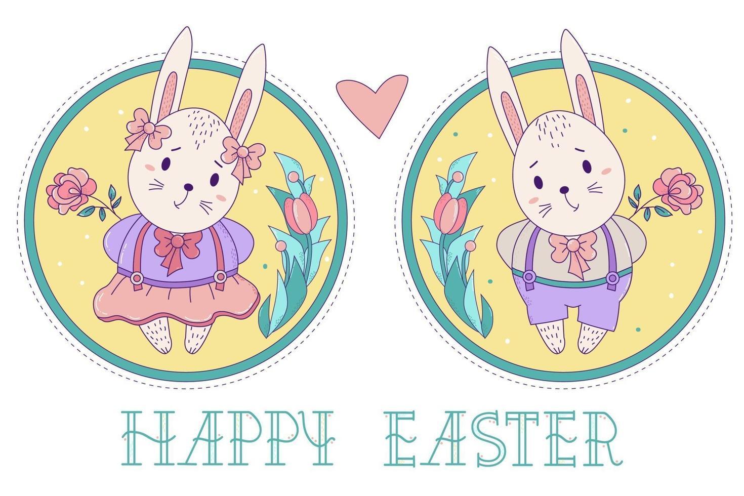 ett par söta kaniner. påskkaninflicka i kjol och en pojke i shorts med en ros på en dekorativ rund bakgrund med en bukett blommor. vektor illustration. glad påsk gratulationskort