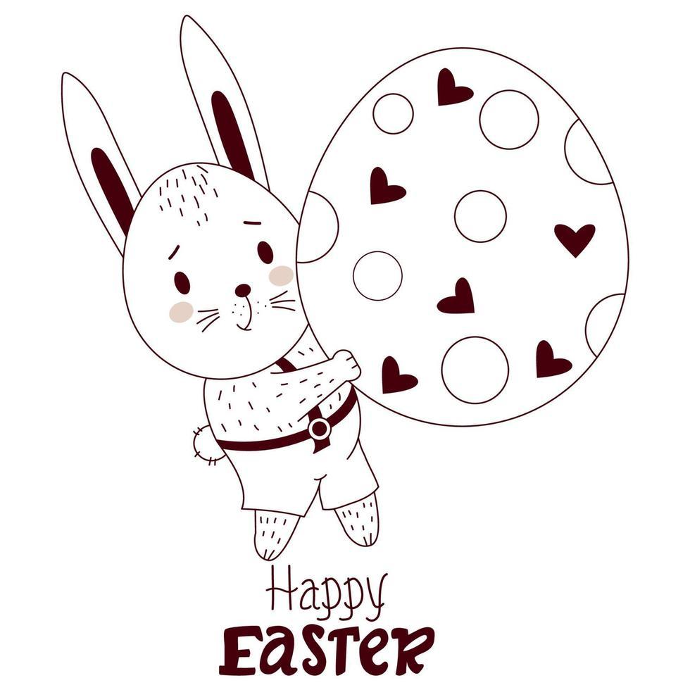 lyckligt påskkort med påskharen. en söt hare pojke i byxor med ett stort påskägg. vektor illustration, disposition. söta djur för påsk design