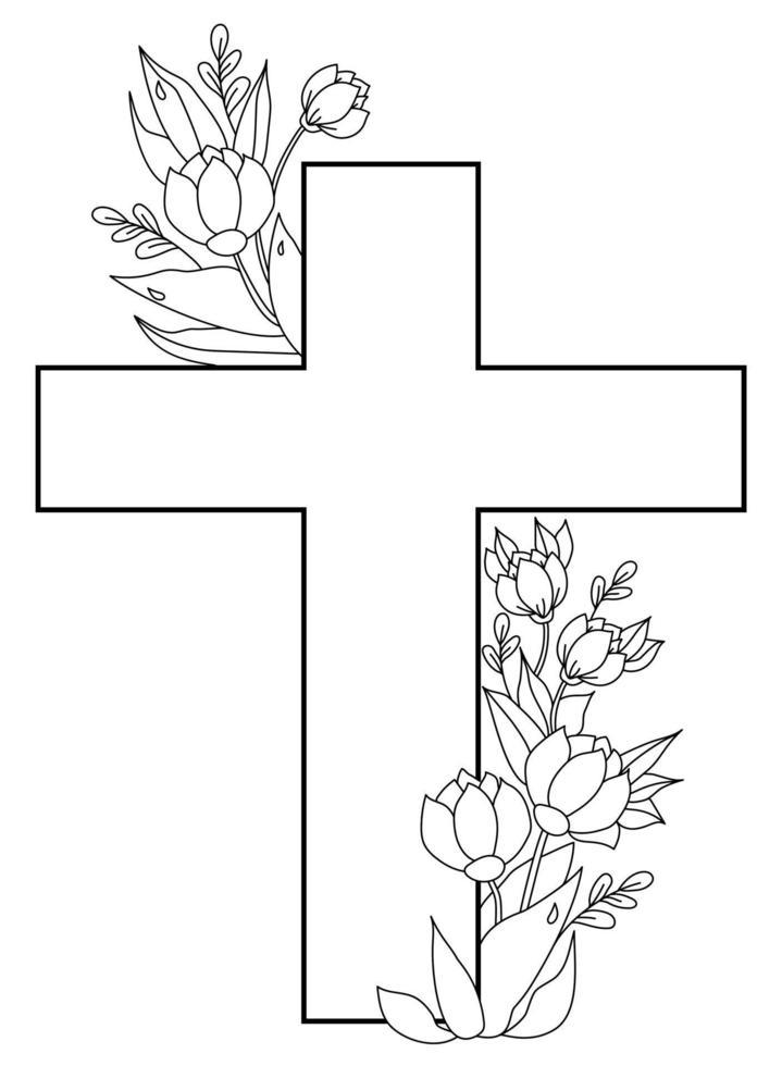 Ostern, Christus ist auferstanden. Postkarte - großes Kreuz, verschlungen mit einem Blumenstrauß aus Blüten, Knospen und Blättern mit Tautropfen. Vektor. Ornament, schwarze Linie, Umriss. für Druck, Dekor und Design vektor