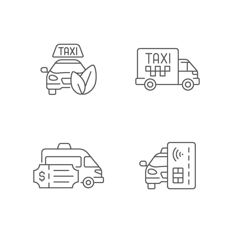miljövänlig taxi linjär ikoner set vektor
