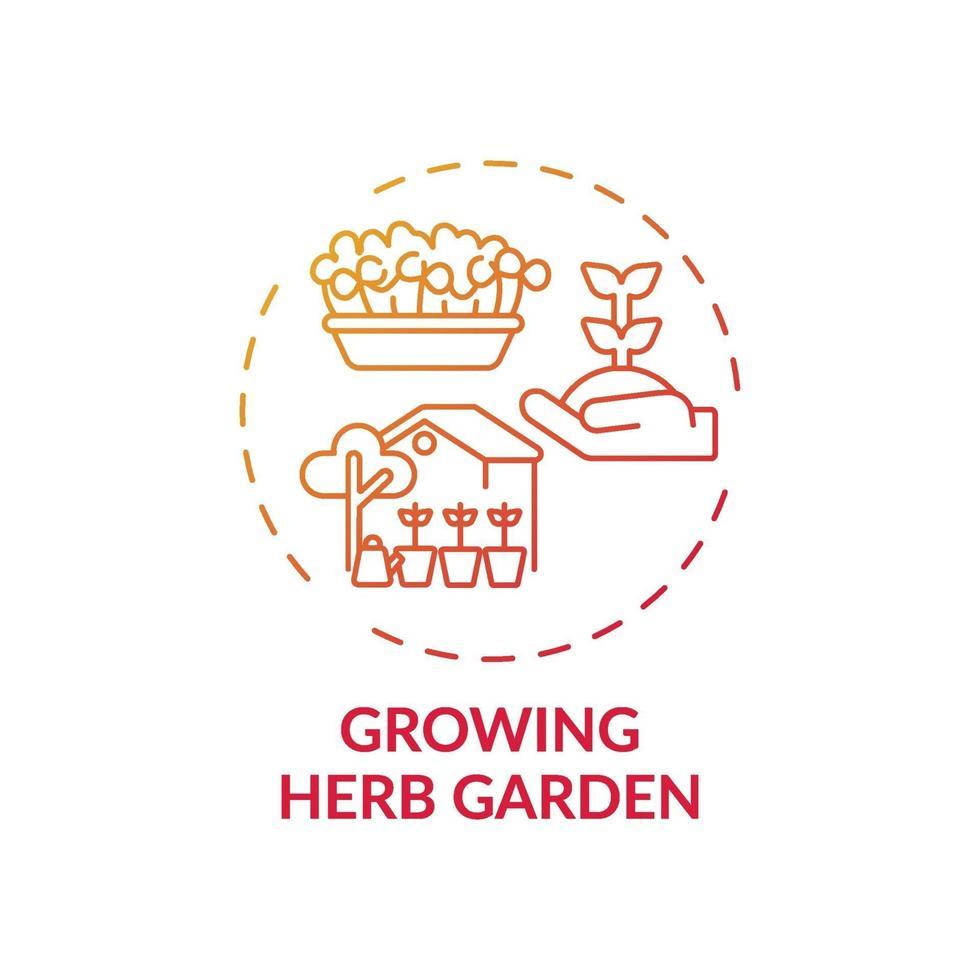 växande ört trädgård koncept ikon vektor