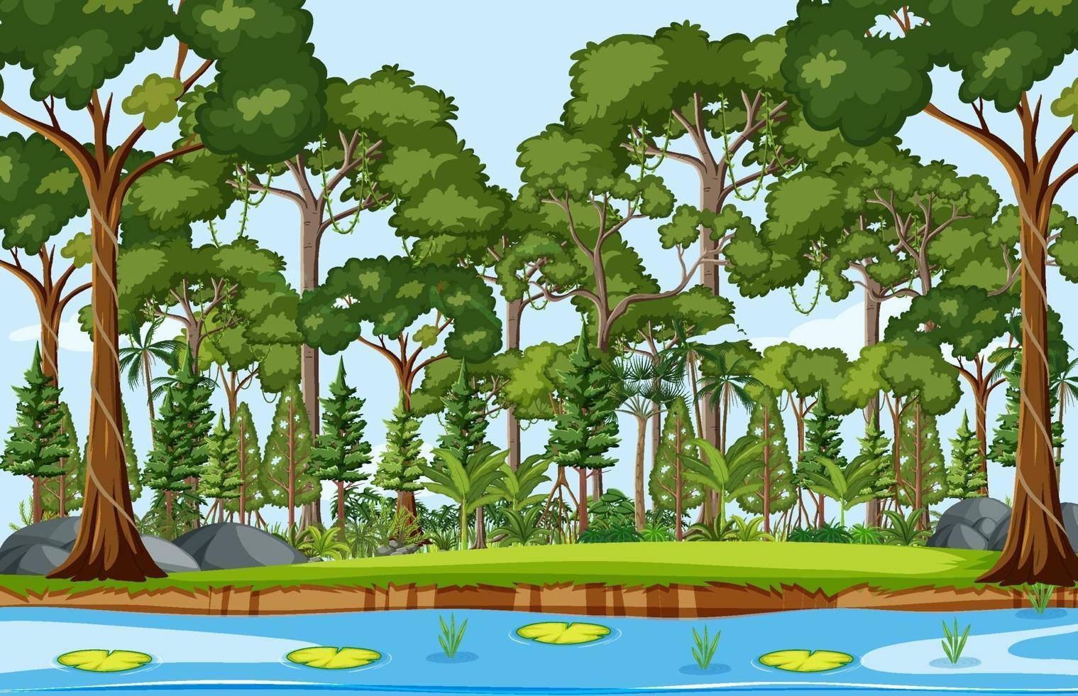 skog scen med damm och många träd vektor