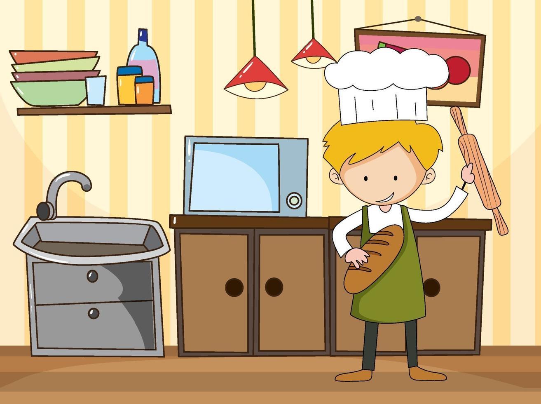 bagareman i köksscenen med utrustning vektor
