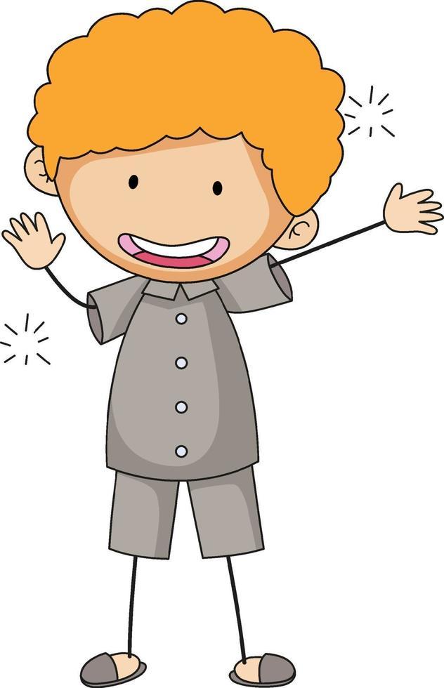 söt pojke seriefigur i isolerade doodle stil vektor