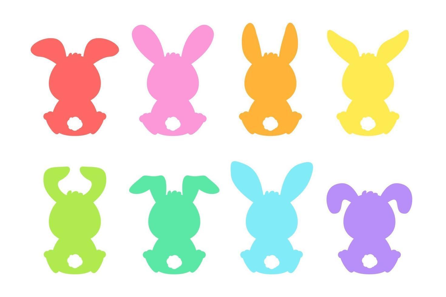 Tom tecknad färgglada kanin siluett formuppsättning vektor