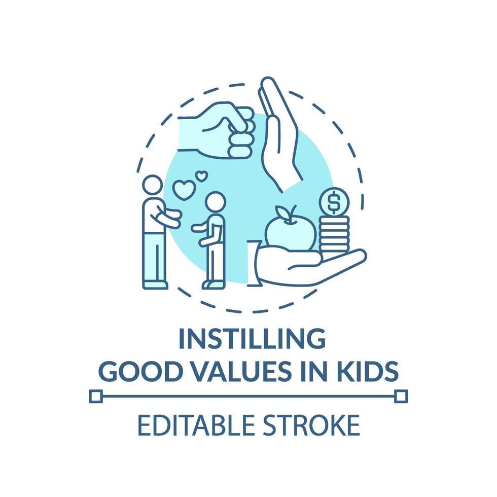 införa bra värden i barnens turkos konceptikon vektor