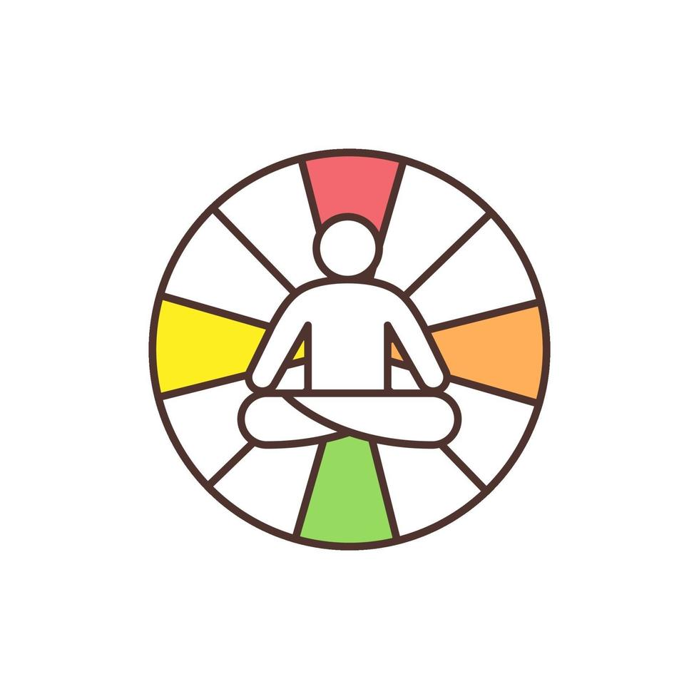 mandala yoga rgb färgikon vektor