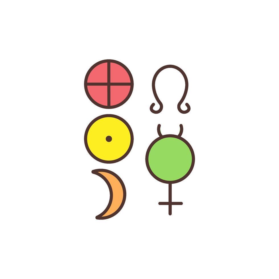 esoterische und okkulte Symbole RGB-Farbsymbol vektor