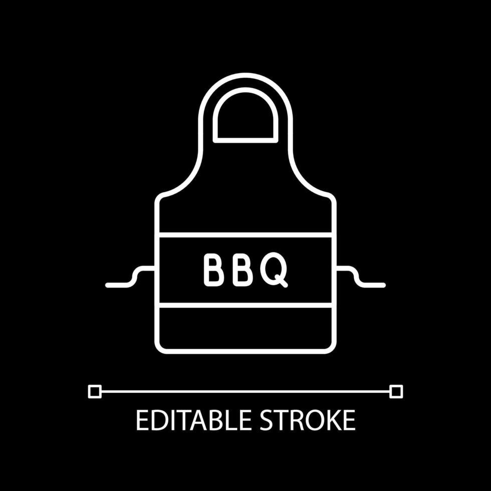 bbq förkläde vit linjär ikon för mörkt tema vektor