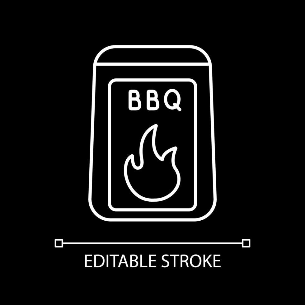 grillstarter levererar vit linjär ikon för mörkt tema vektor