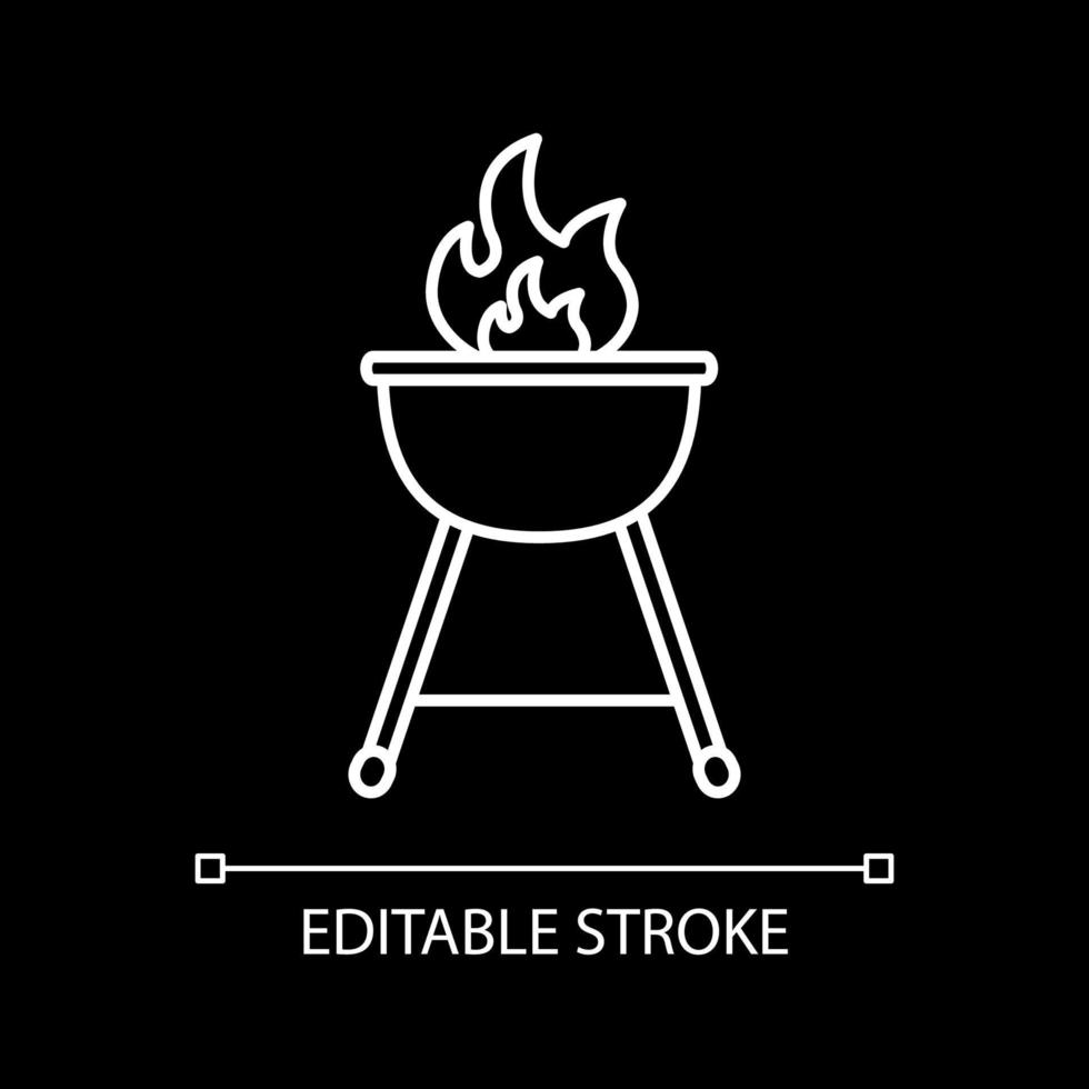 grill eld vit linjär ikon för mörkt tema vektor