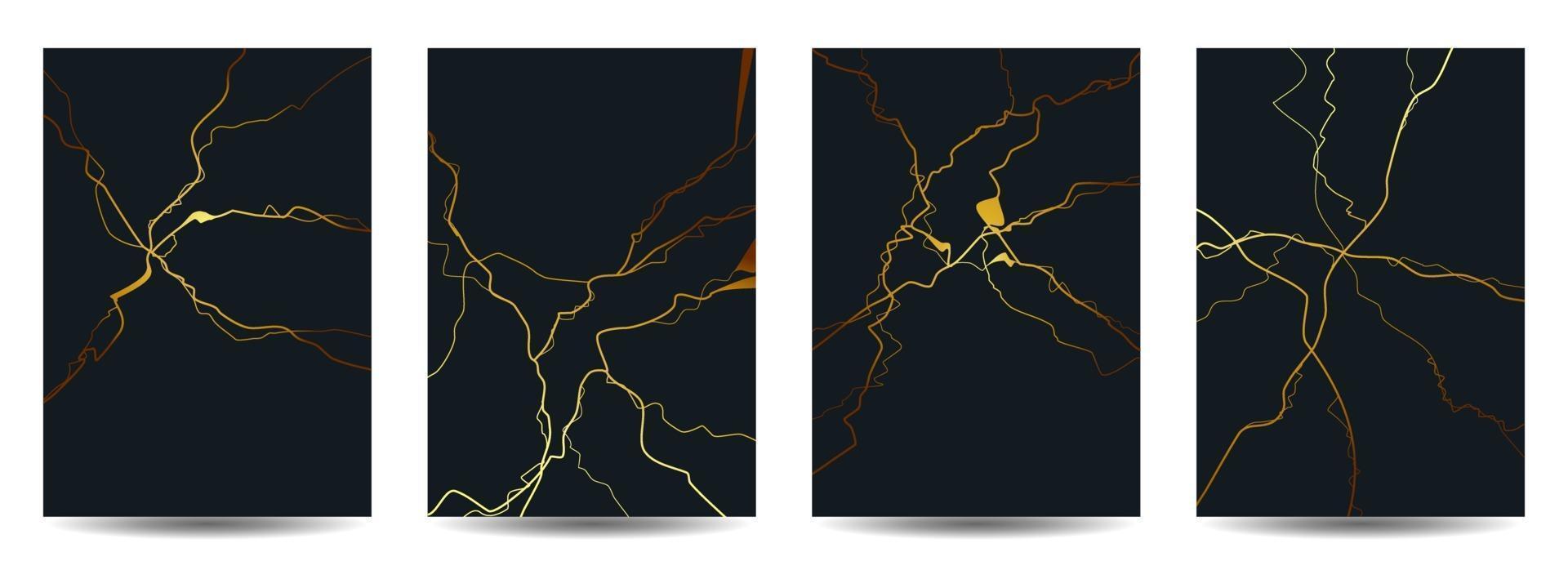 guld kintsugi täcka design bakgrund vektor