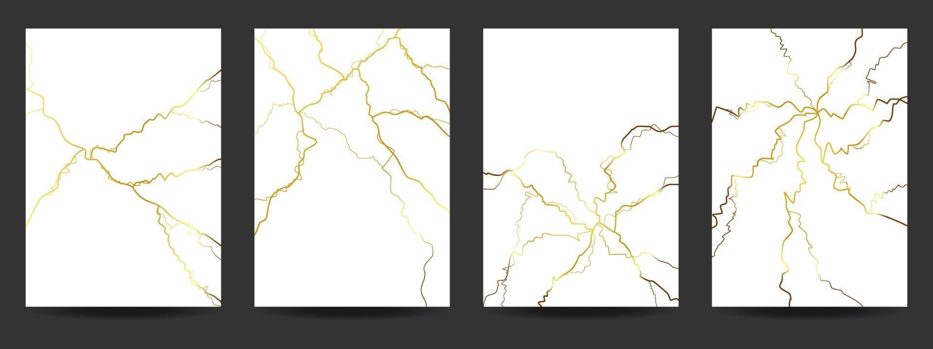 guld kintsugi täcka design bakgrund. vektor