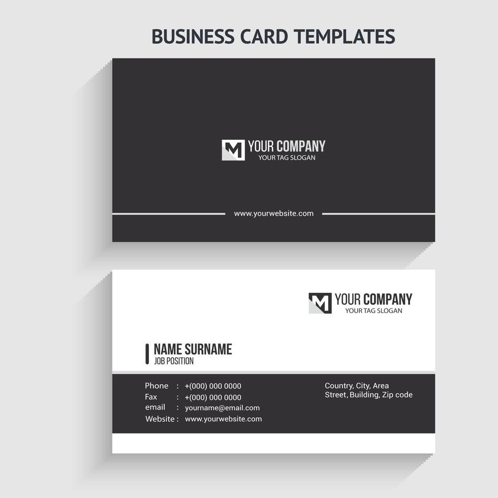 einfache Visitenkartenvorlage. Briefpapierdesign, flaches Design, Druckschablone, Vektorillustration. vektor