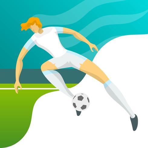 Moderner minimalistischer England-Fußball-Spieler für den Weltcup 2018, der einen Ball mit Steigungshintergrundvektor Illustration führt vektor