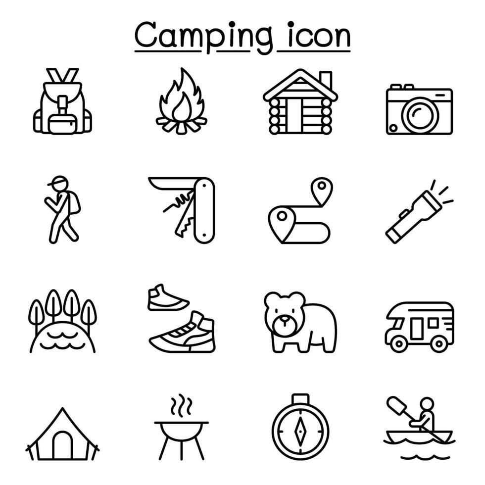 camping ikoner i tunn linje stil vektor
