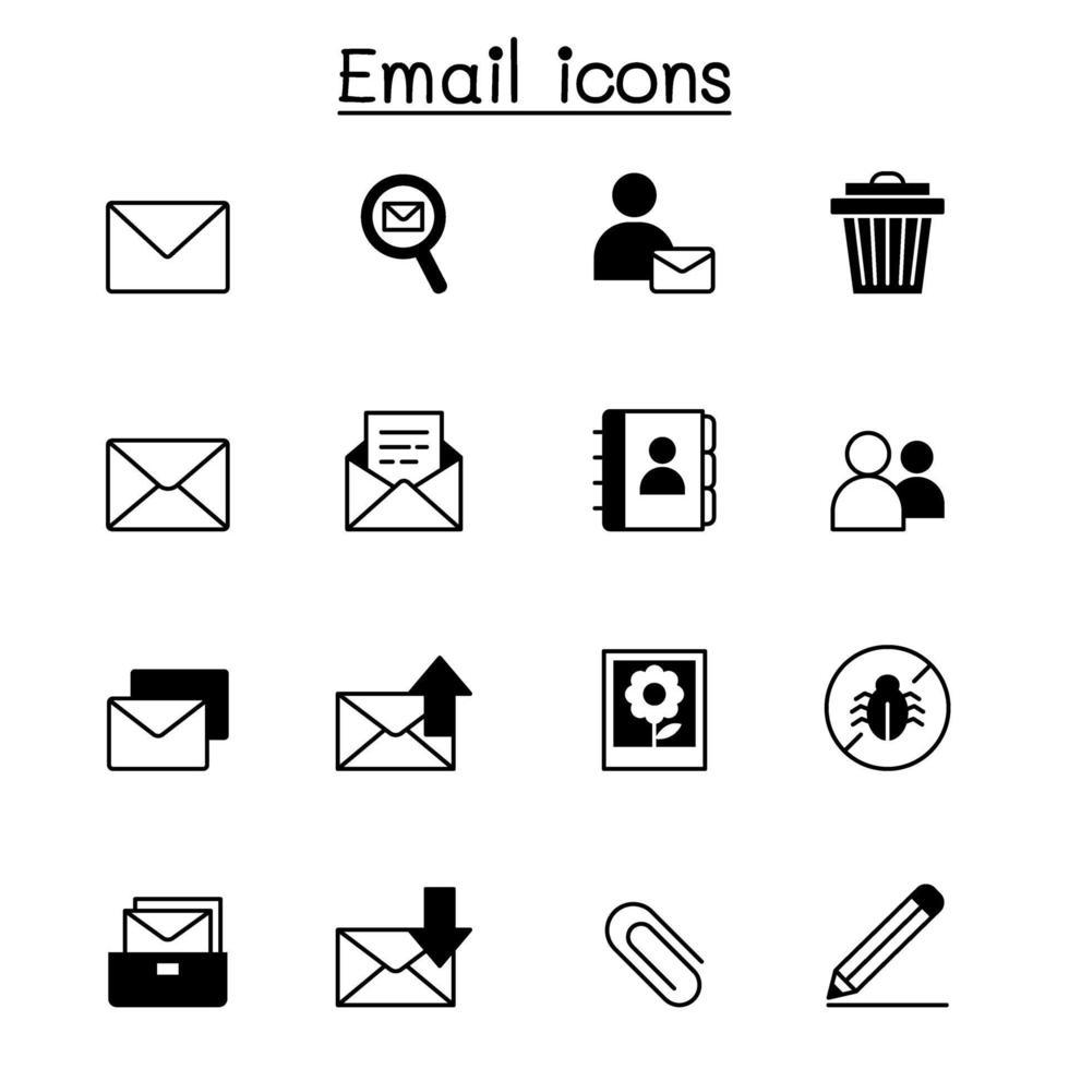e-post ikonuppsättning vektorillustration grafisk design vektor