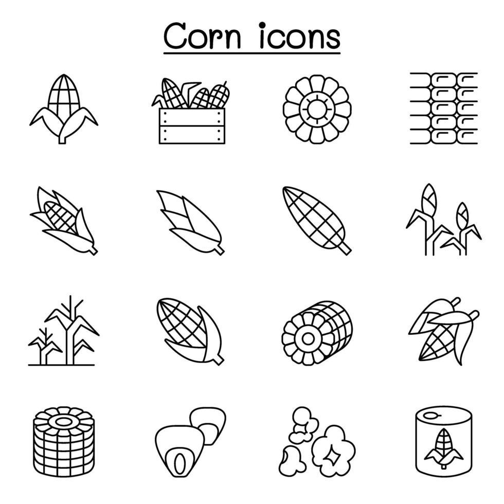 Mais-Symbol in dünner Linie Stil gesetzt vektor