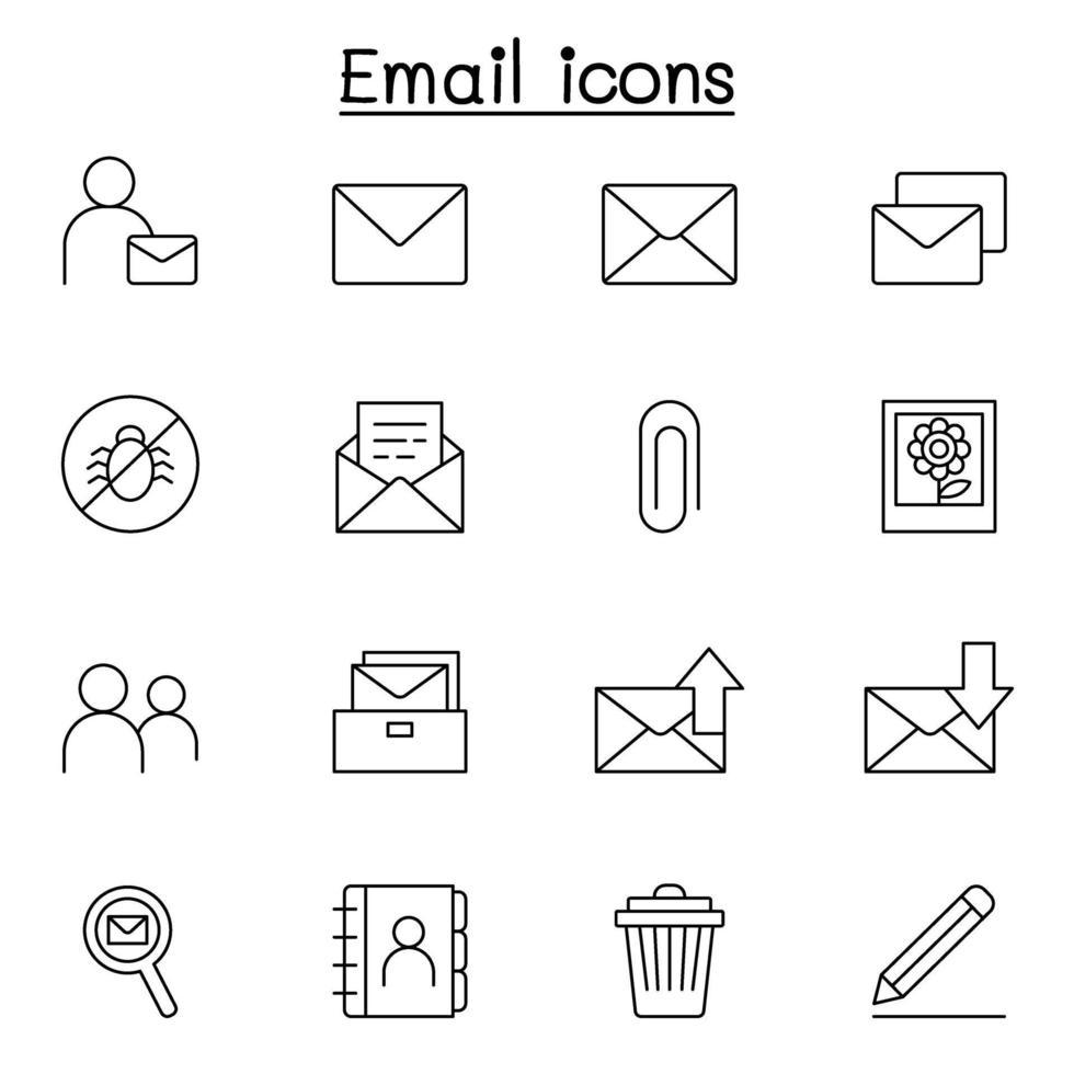 e-post ikonuppsättning i tunn linje stil vektor